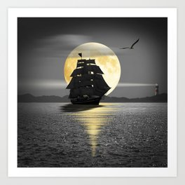 A ship with black sails Art Print