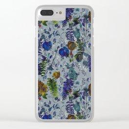 Bleu Foliage Clear iPhone Case
