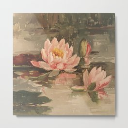 Pink Water-lily Pond, Date Unknown Metal Print