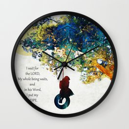 The Lord My Hope - Inspirational Christian Art - By Sharon Cummings Wall Clock