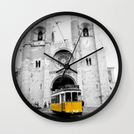 Lisbon Yellow Tram Photograph Wall Clock