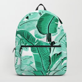 jungle leaf pattern mint Backpack