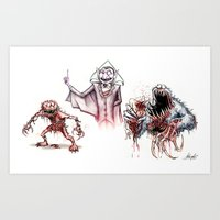 muppets Art Prints featuring Horror Muppets by The Art of Austen Mengler