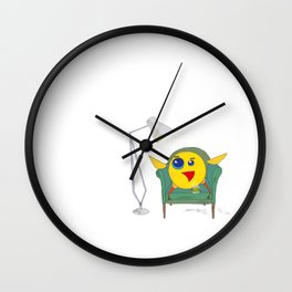 Yellow Bird Has Tea Wall Clock