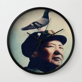 Pigeon Poo Mao by Guido Prussia Wall Clock