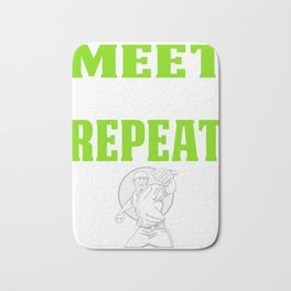Baseball PItcher Design Gift Meet Defeat Bath Mat