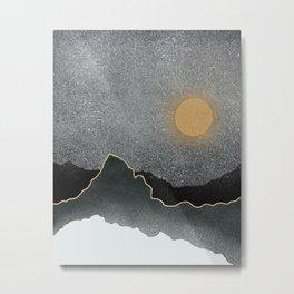 Black Mountains Gold Moon Metal Print