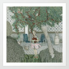 girl with chameleon Art Print