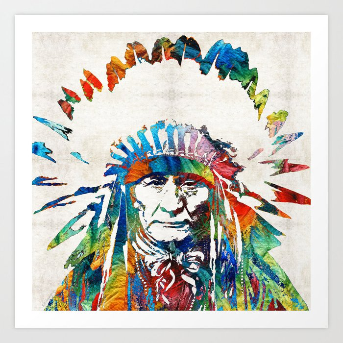 Native American Art Chief By Sharon Cummings Art Print