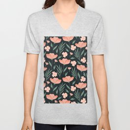 Dark Peach Flowers Unisex V-Neck