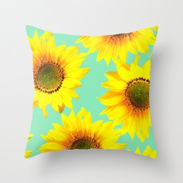 Sunflowers on a pastel green backgrond - #Society6 #buyart Throw Pillow