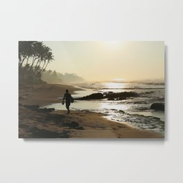 Sunset Beach Walk Metal Print