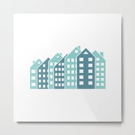 Abstract colorful multistory buildings. Metal Print