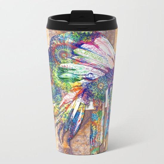 colorful mandala headdress Metal Travel Mug