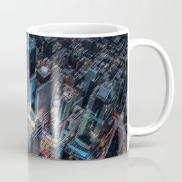 Colorful Times Square Aerial View - New York City Landscape Painting by Jeanpaul Ferro Coffee Mug