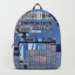Container Ship, Port, Hamburg, Elbe, Container, Tug. Vintage. Retro. Illustration.  Backpack