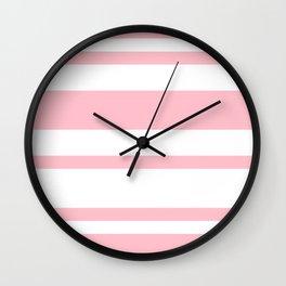 Mixed Horizontal Stripes - White and Pink Wall Clock