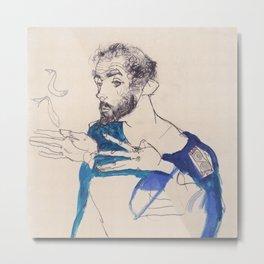 """Egon Schiele """"Gustav Klimt im blauen Malerkittel"""" Metal Print"""