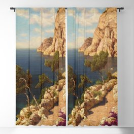 Capri, Bay of Naples, Italy coastal maritime landscape painting by Ivan Fedorovich  Blackout Curtain