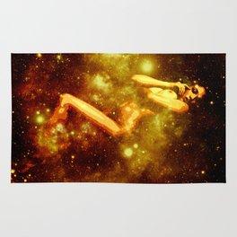 Golden Galaxy Woman : Nude Art Rug