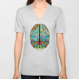 Colorful Brain Art - Just Think - By Sharon Cummings Unisex V-Neck