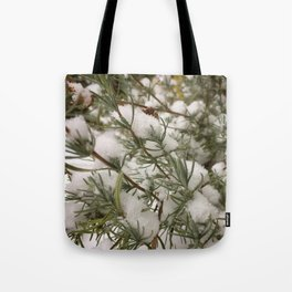 Lavender in snow Tote Bag