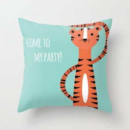 Tiger card - come to my party Throw Pillow