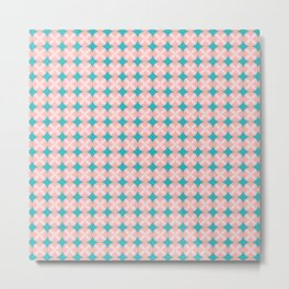 Pink Circle Flower Pattern with Aqua Background Metal Print