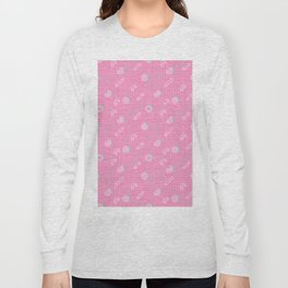 Abstract pastel pink turquoise geometrical memphis pattern Long Sleeve T-shirt