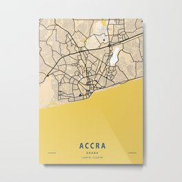 Accra Yellow City Map Metal Print