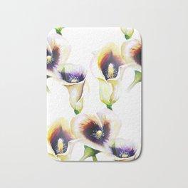 Seamless Watercolor Arum Calla Lilies Bath Mat