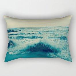 Waves crashing against rocks | Beach Rectangular Pillow
