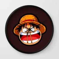 luffy Wall Clocks featuring Luffy & Nose Sticks! by Orfik