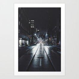 Night street reflect Art Print