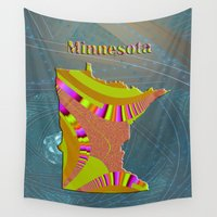 minnesota Wall Tapestries featuring Minnesota Map by Roger Wedegis