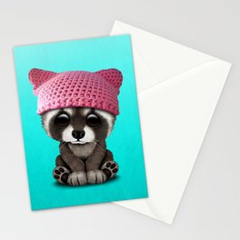 Cute Baby Raccoon Wearing Pussy Hat Stationery Cards