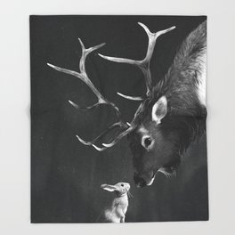 Elk and Rabbit Throw Blanket