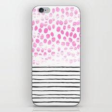 Dot Stripe hot pink black and white minimal abstract painting pattern trendy boho urban bklyn art iPhone & iPod Skin