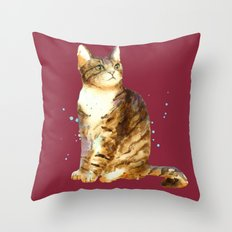 Cute Tabby Cat Throw Pillow