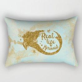 Real life Mermaid - Gold glitter lettering on aqua glittering background Rectangular Pillow