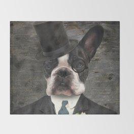 Sir Duncan - Boston Terrier Portrait Throw Blanket