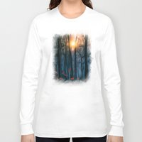 sunset Long Sleeve T-shirts featuring Red feather dance  (colour option) by Viviana Gonzalez