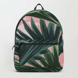 Pink and green palm trees Backpack