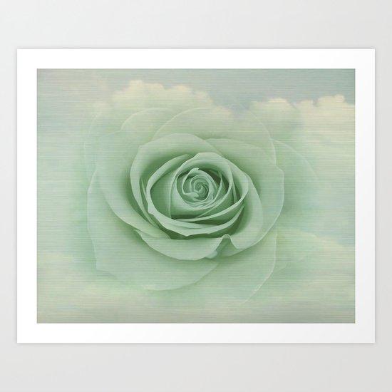 Dreamy Vintage Floating Rose Art Print