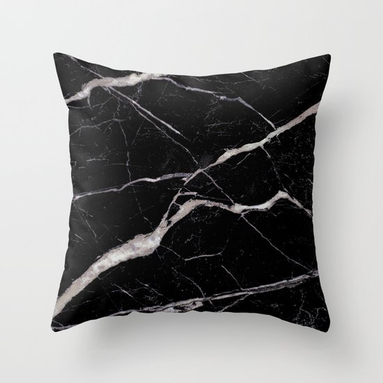 Black Marble Throw Pillow by Santo Sagese Society6