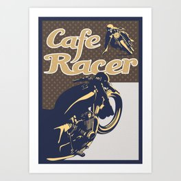 retro cafe racer motorcycle poster Art Print
