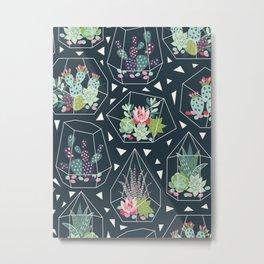 Geometric Terrarium Succulent Pattern Floral Plant Pattern Metal Print