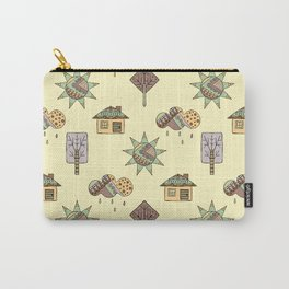 Hand drawn seamless pattern, decorative stylized childish house, tree, sun, cloud, rain Doodle style Carry-All Pouch