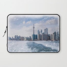 Toronto Skyline Mixed Media artwork, a view back from the Islands  Laptop Sleeve
