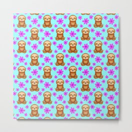 Funny cute little meditating relaxed chilling zen sloths and pretty pink spring flowers white bright baby blue pattern. Gifts for sloth and nature lovers. Nursery ideas. Metal Print